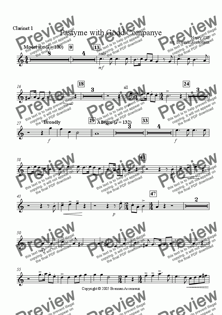 page one of the Clarinet 1 part from Pastime with Good Company (wind band)