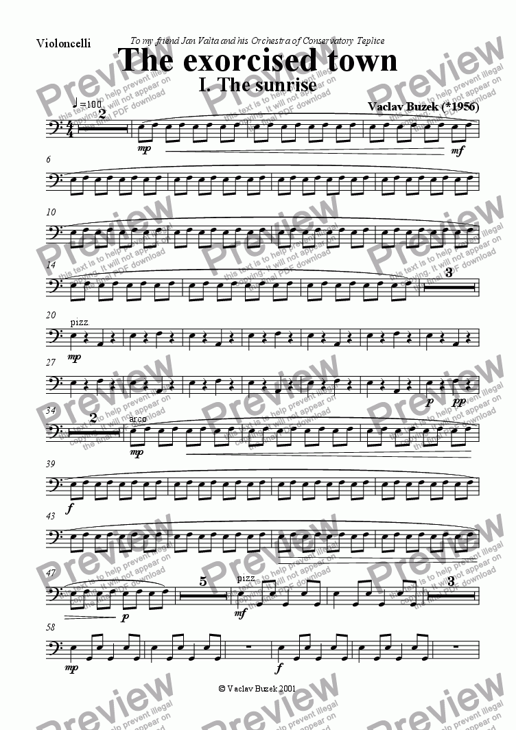 page one of the violoncello part from The exorcised town I. The Sunrise