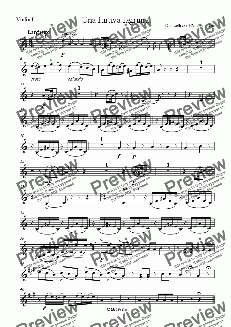 page one of the Violin I part from Romance «Una Furtiva Lagrima» for Bassoon and Stringquartet