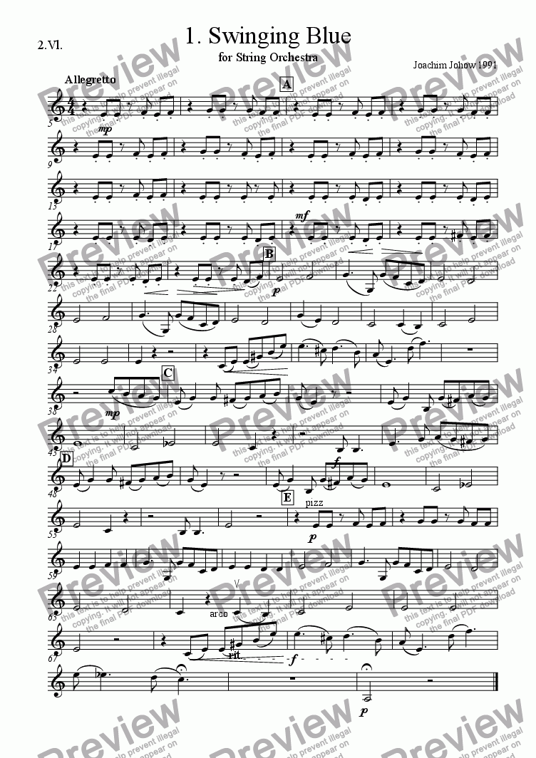 page one of the 2. Vl part from String Orchestra 01 (Swinging Blue)