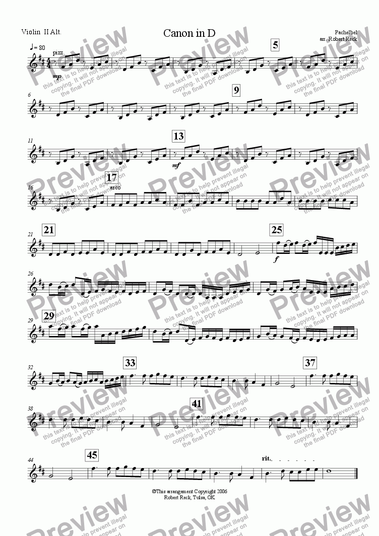 page one of the Violin II (Alt) part from Canon in D (String Orchestra w/optional Woodwinds and Keyboard)