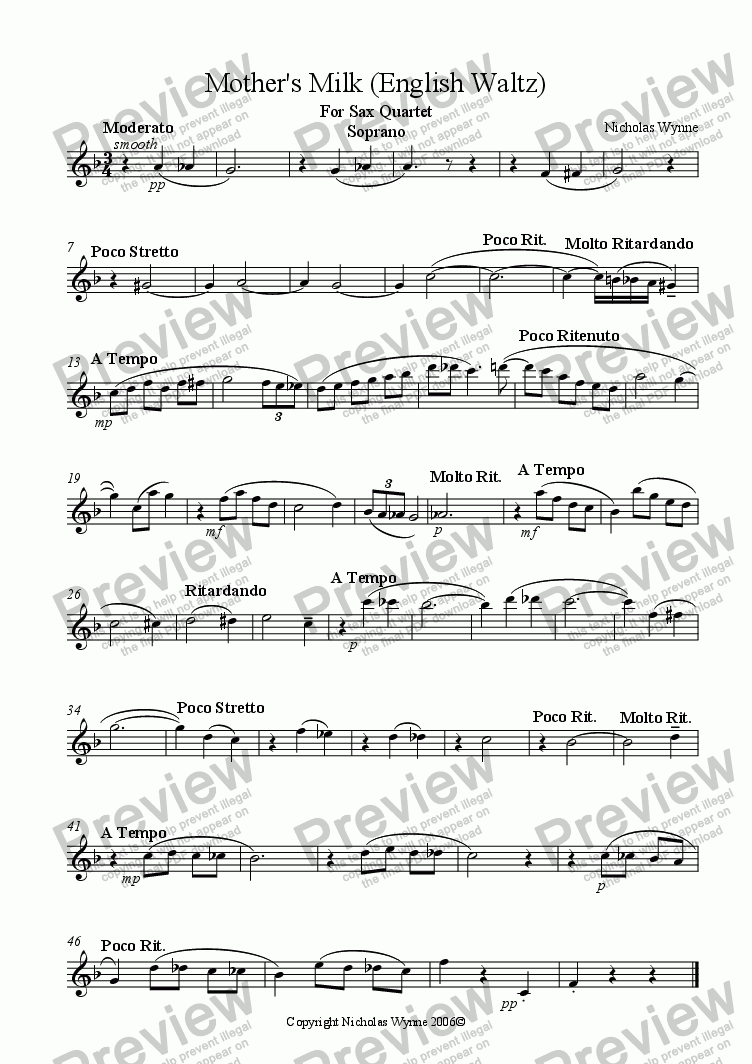 page one of the Soprano Saxophone part from Mother's Milk for Sax Quartet