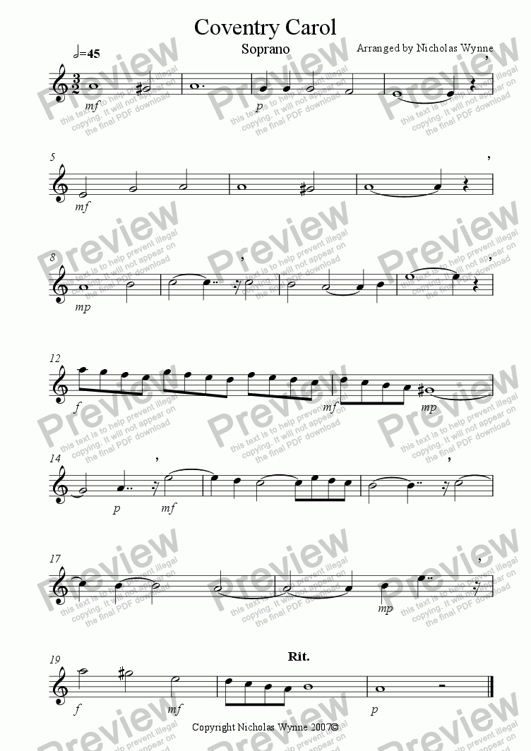 page one of the Soprano Saxophone part from Coventry Carol for Sax Quartet
