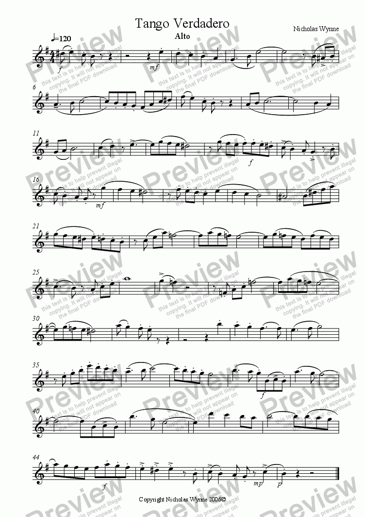 page one of the Alto Saxophone part from Tango Verdadero for Sax Quartet