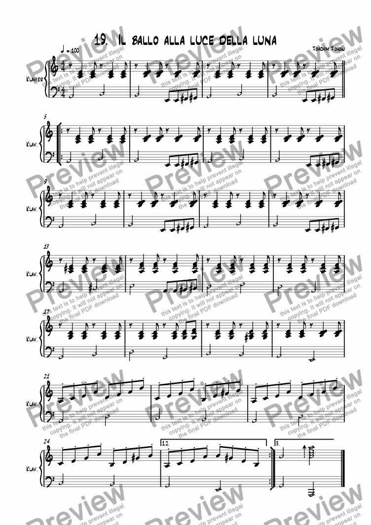 page one of the Piano part from Grand Canon 19 Il Ballo