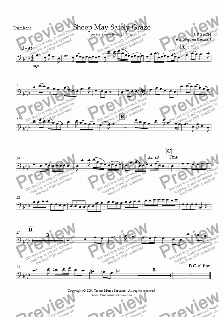 page one of the Trombone part from Sheep May Safely Graze from Cantata 208