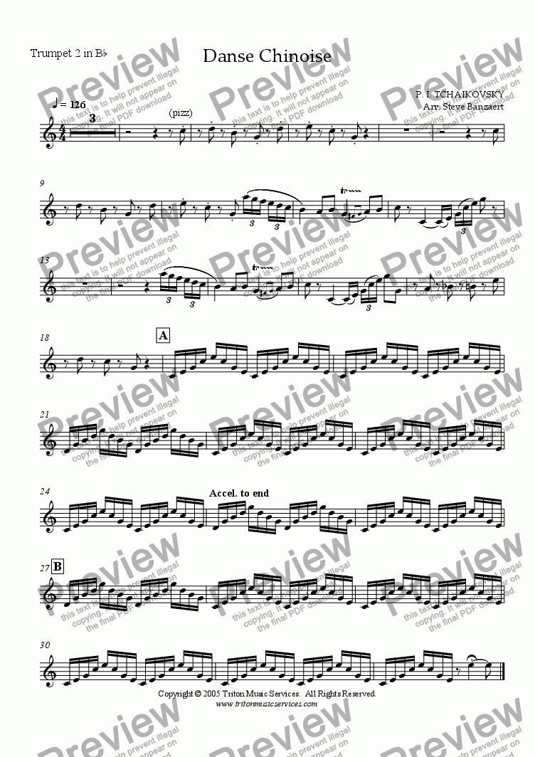 page one of the Trumpet 2 in Bb part from Chinese Dance from The Nutcracker