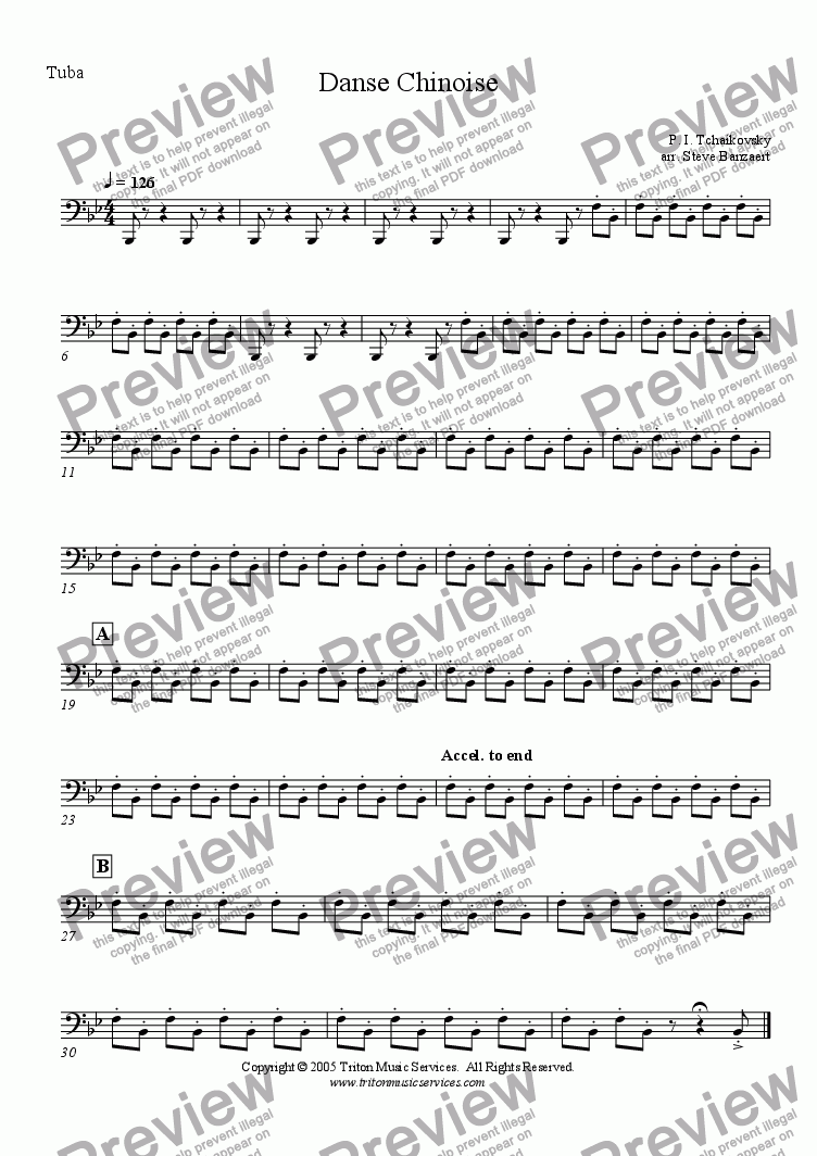 page one of the Tuba part from Chinese Dance from The Nutcracker