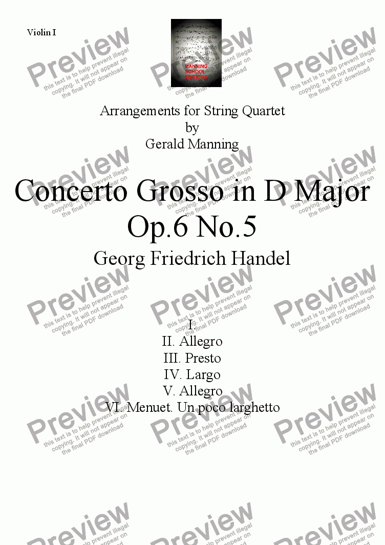 page one of the Violin I part from HANDEL, G.F. - Concerto Grosso Op. 6, No. 5 in D Major - arr. for String Quartet by Gerald Manning
