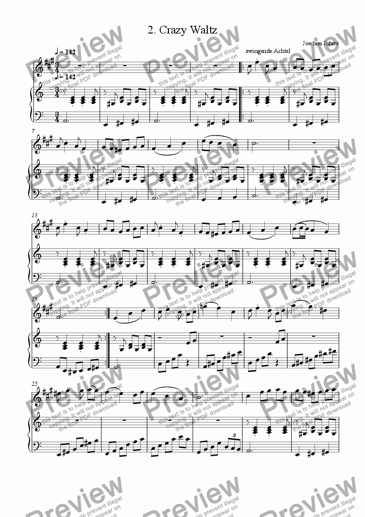 page one of the Piano part from Sax 02 (Crazy Waltz)