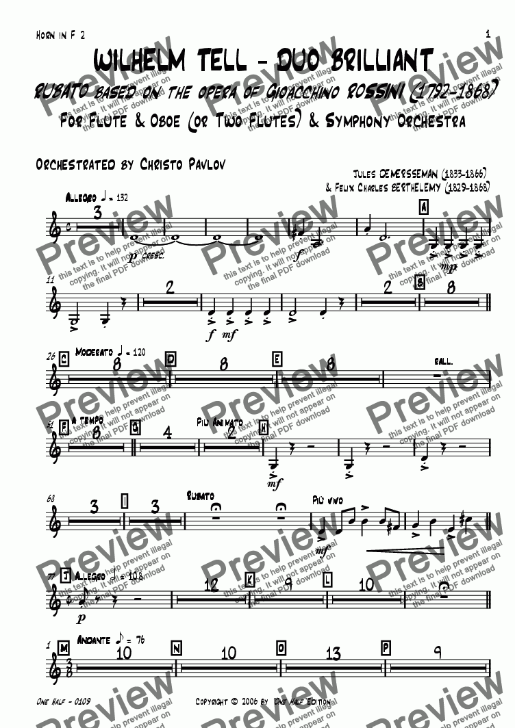 "page one of the french horn 2 part from Rossini - ""WILHELM TELL - DUO BRILLIANT"" for Flute, Oboe & Orchestra"