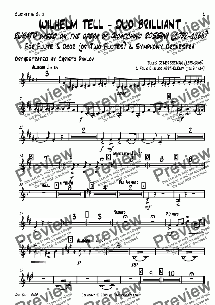 "page one of the clarinet 2 part from Rossini - ""WILHELM TELL - DUO BRILLIANT"" for Flute, Oboe & Orchestra"