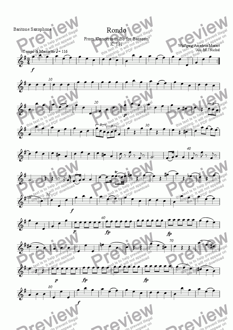 page one of the Bari Sax part from Concerto in Bb Major K 191 for Bassoon  - 3rd Movement