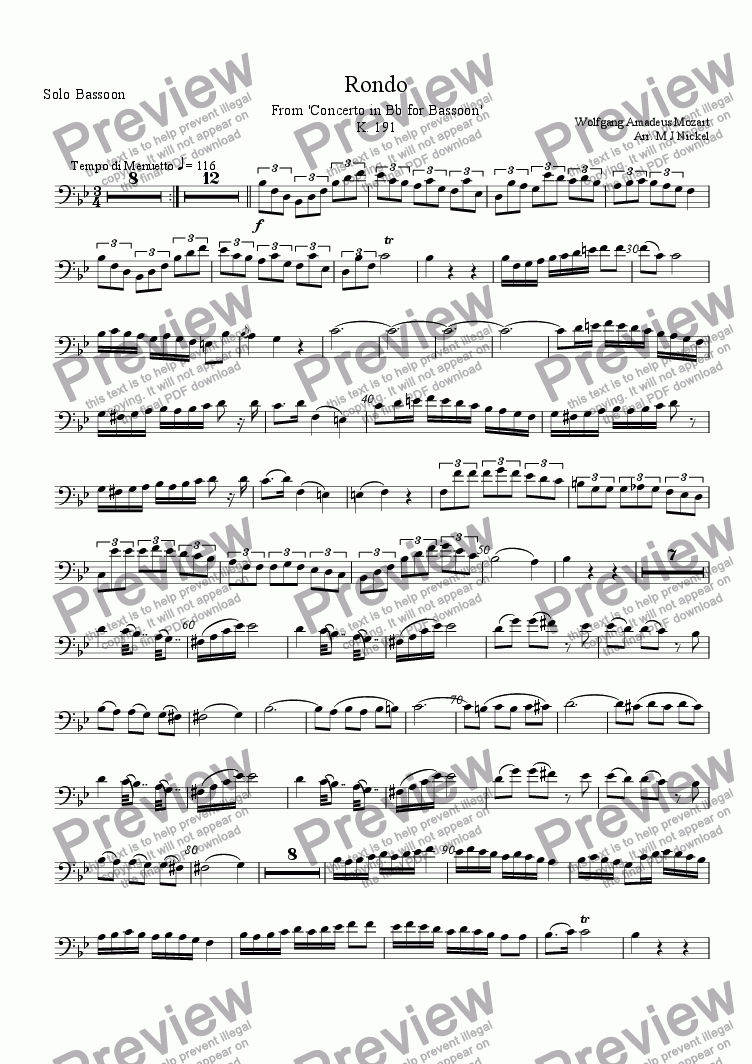 page one of the Solo Bassoon part from Concerto in Bb Major K 191 for Bassoon  - 3rd Movement