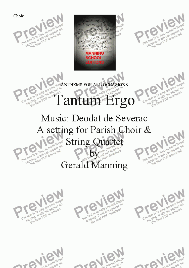 page one of the Choir part from Anthems For All Occasions - Tantum Ergo - Deodat de Severac - A setting for Parish Choir and String Quartet by Gerald Manning