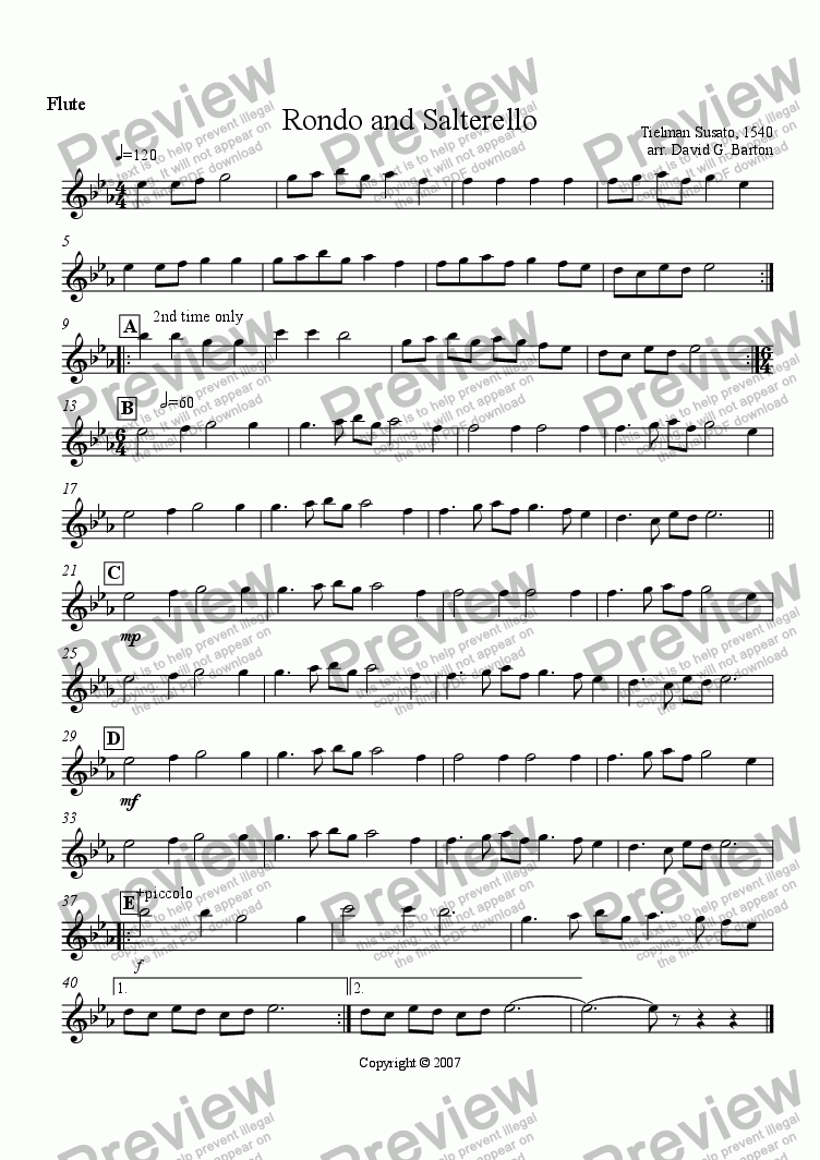 "page one of the Flute and Piccolo part from Renaissance Music for Band: ""Rondo and Salterello"" for Young Bands"