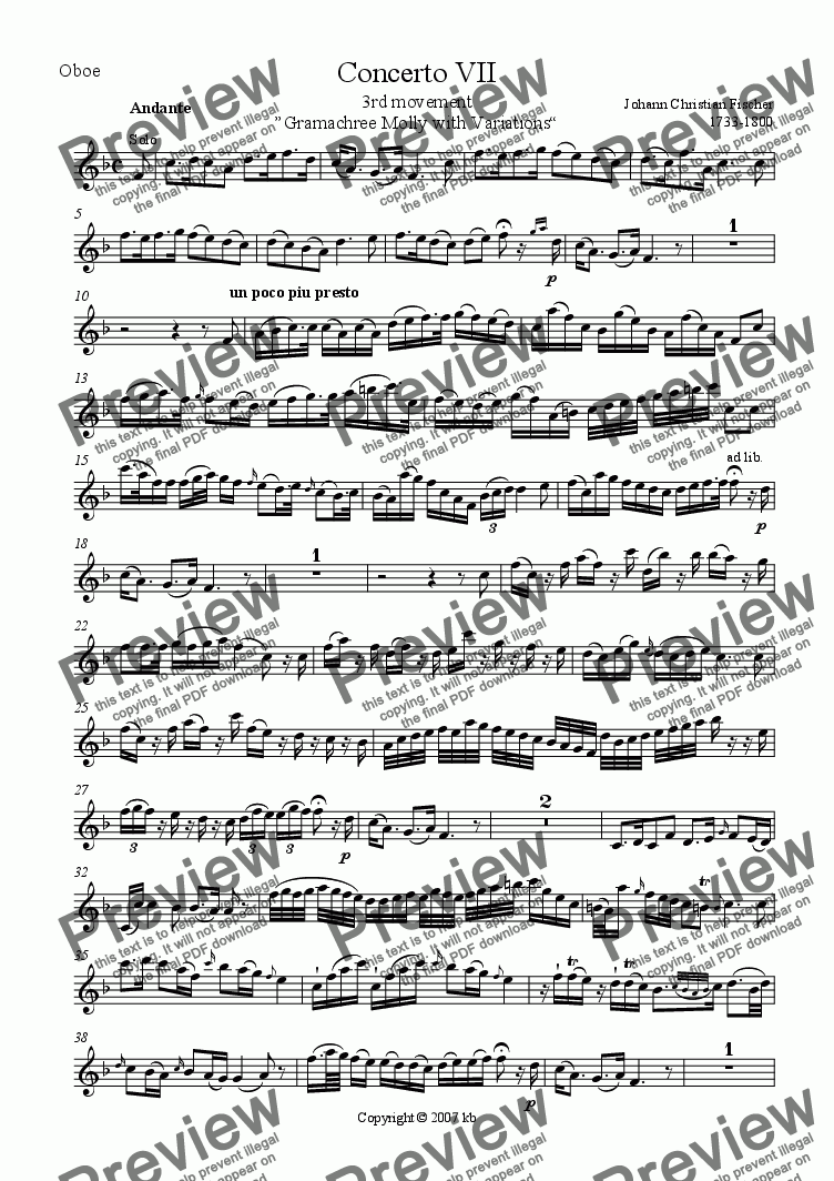 "page one of the Oboe part from Oboe Concerto No. 7 - 3rd mvt Andante ""Gramachree Molly"""