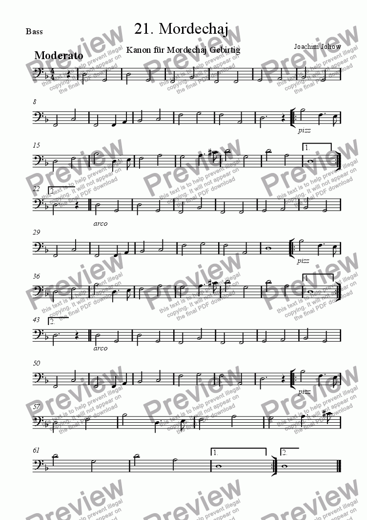 page one of the Bass part from Grand Canon 21 Mordechaj