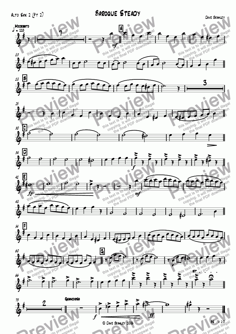 page one of the Alto Sax  2 (Pt 2) part from Baroque Steady