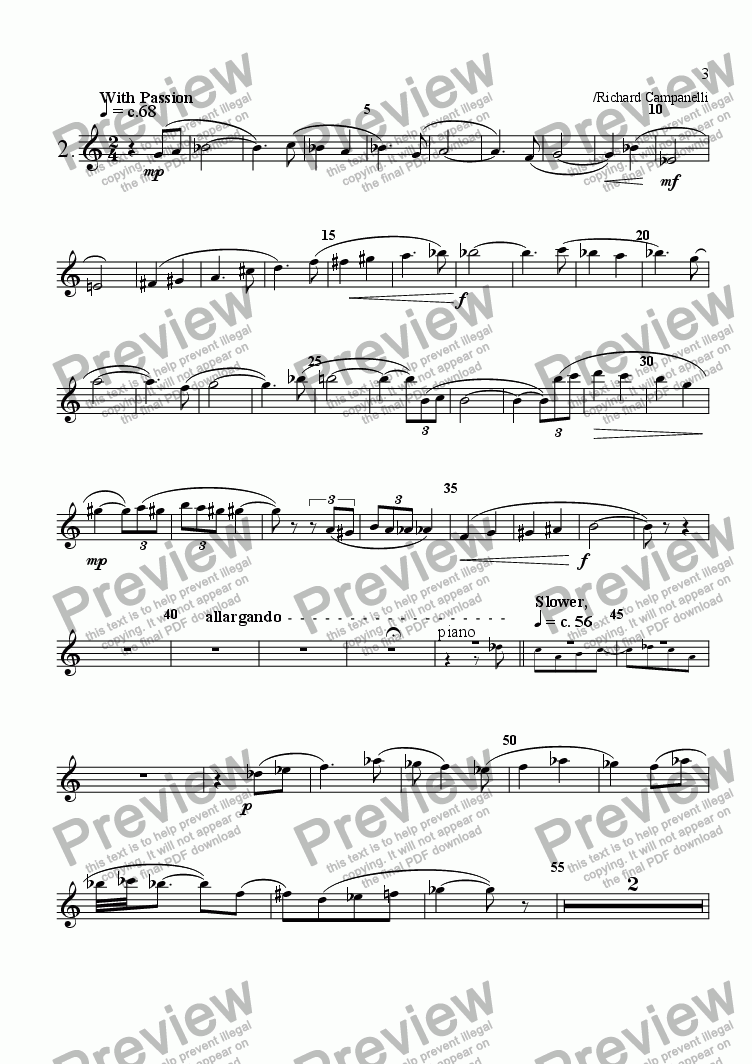 page one of the flute part from Sonatina for Flute & Piano, 2cd mvmnt.