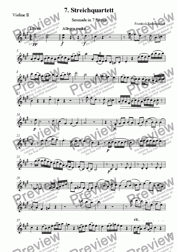 page one of the 2. Violine part from 7. Streichquartett (Serenade)