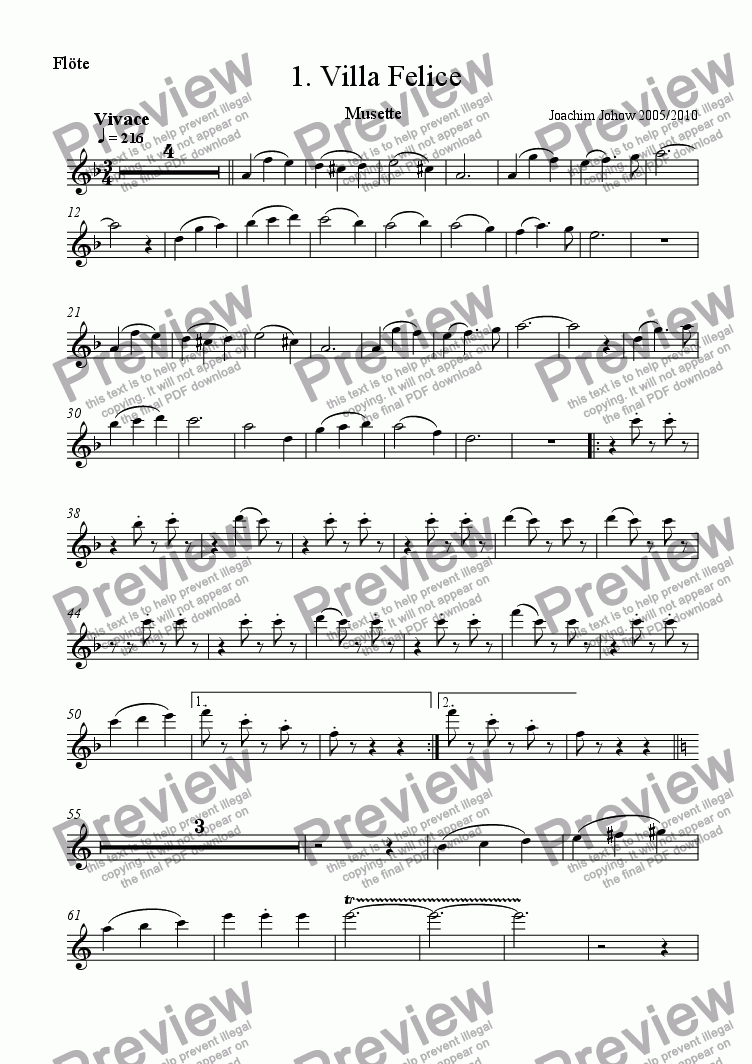 page one of the Fl part from Orchester-Musette 01 (Villa Felice)