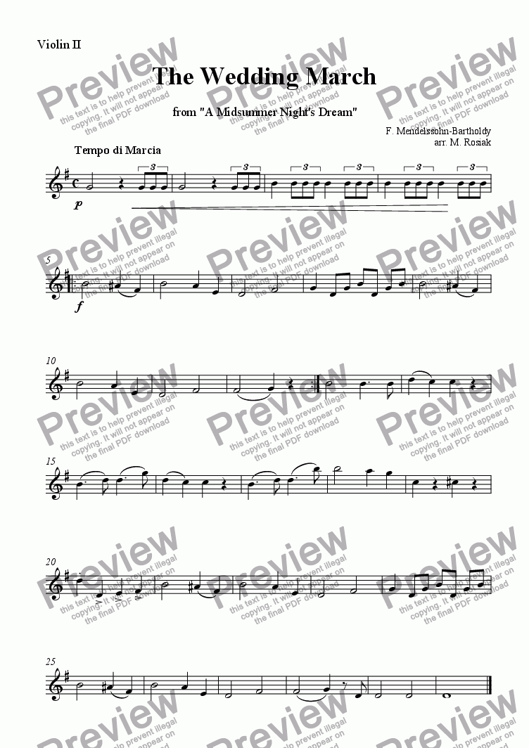 page one of the violin 2 part from Wedding March