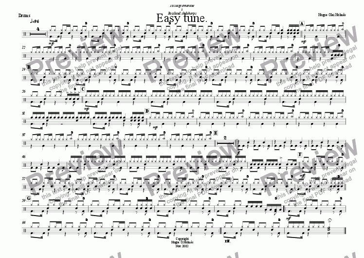 page one of the Drumset part from Easy Tune