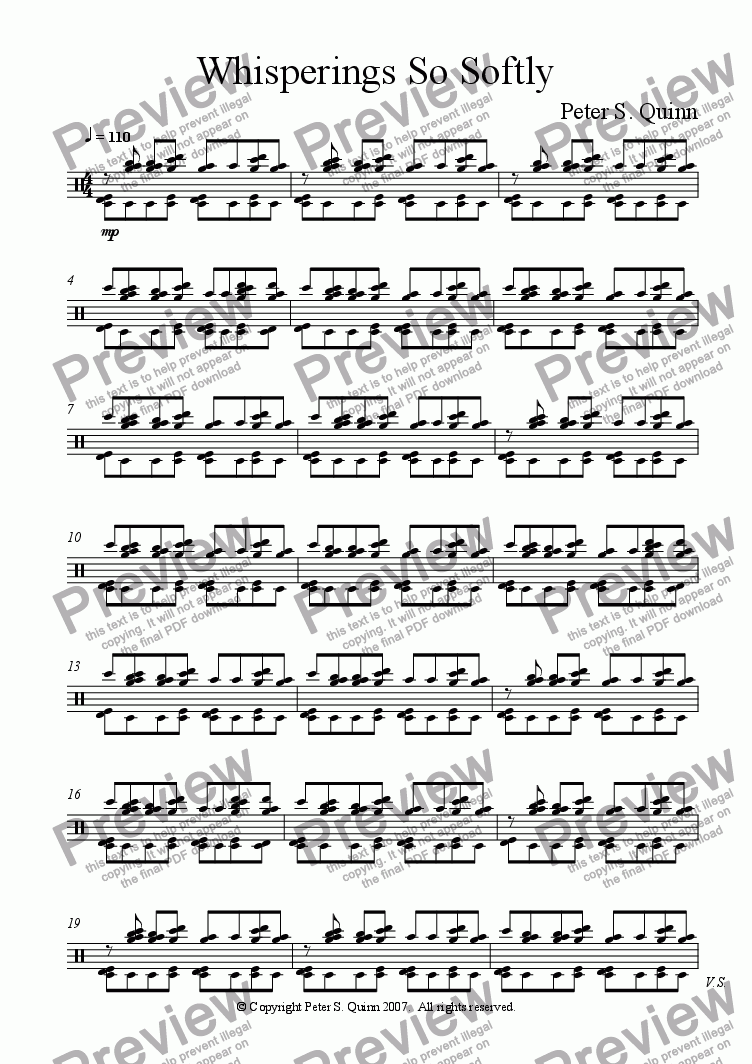 page one of the Drum Kit part from Whisperings So Softly