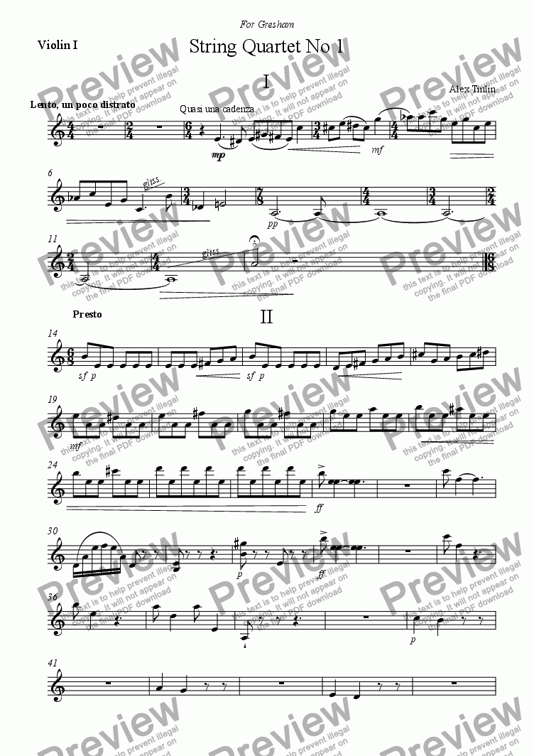 page one of the Violin I part from String Quartet No.1