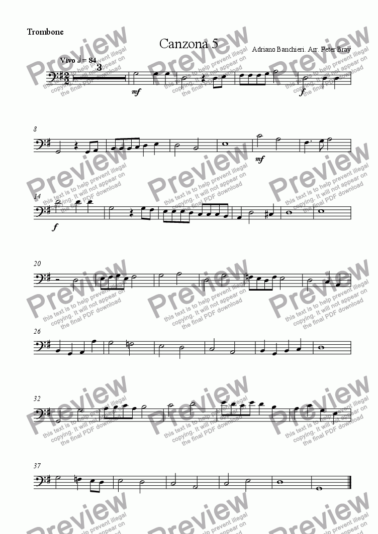 page one of the Trombone part from Canzona 5