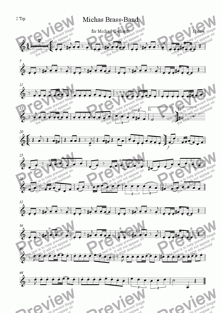 page one of the 2. Trp B part from Michas Brass-Band