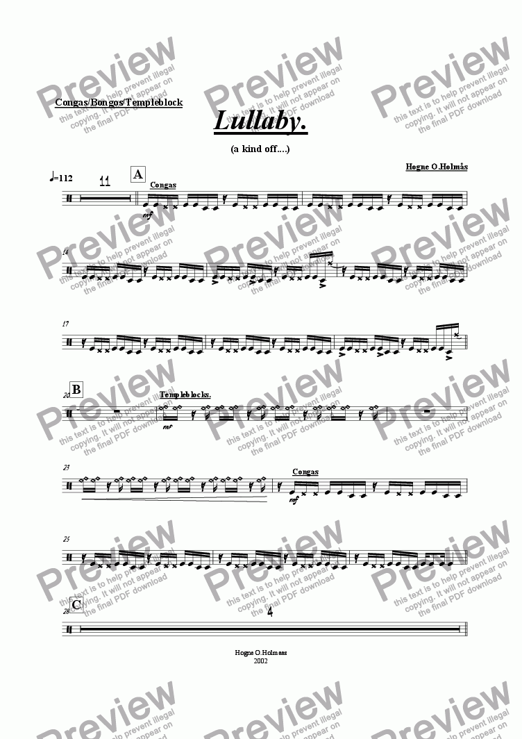 page one of the Congas/Bongoes/Templeblocks part from Lullaby