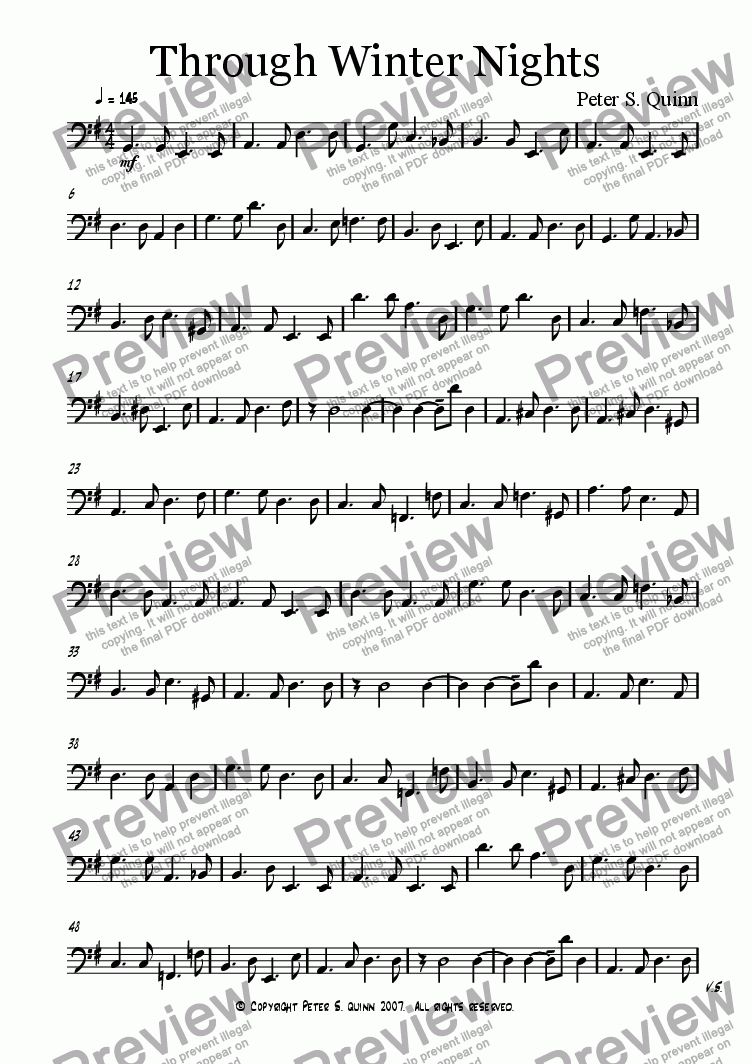page one of the Synth Bass part from Through Winter Nights