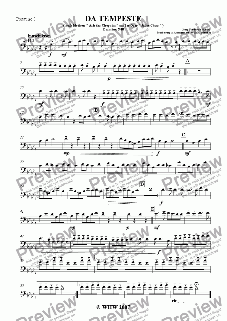 page one of the 1st Trombone ( subst. Horn F ) part from DA TEMPESTE
