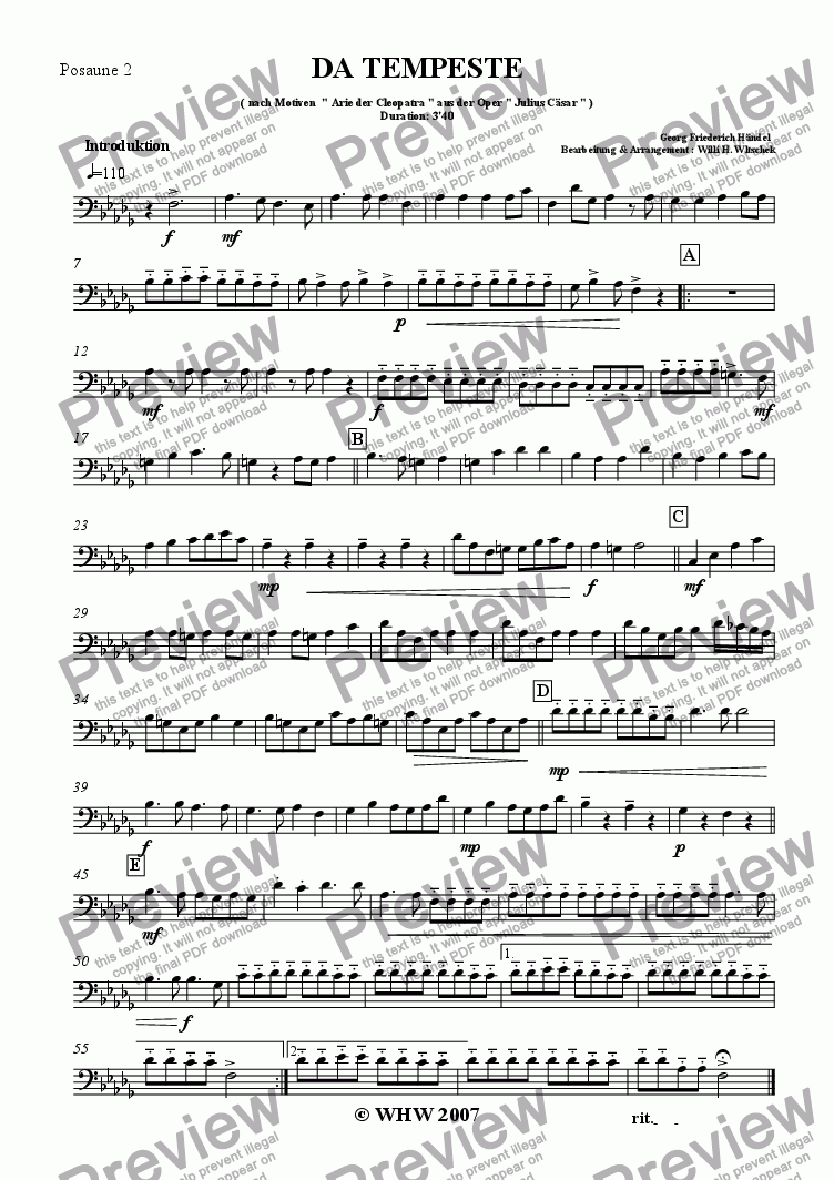 page one of the 2nd Trombone part from DA TEMPESTE
