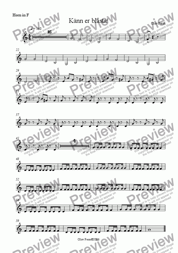 page one of the Horn in F part from Känn dig blåst! / You've been played!