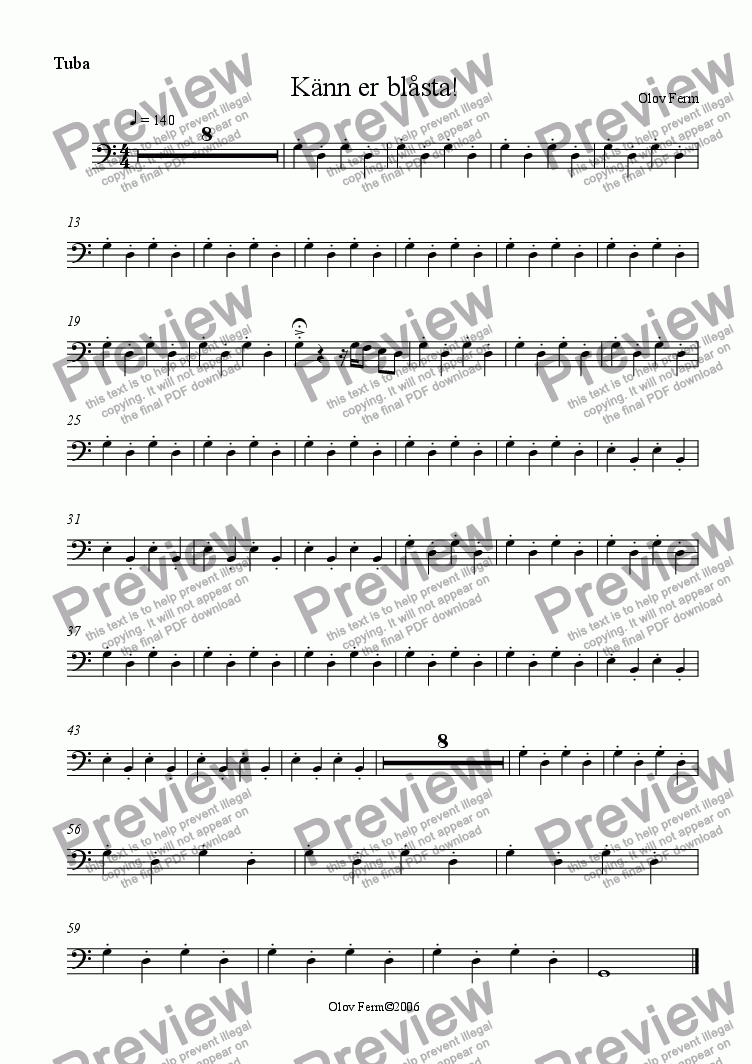 page one of the Tuba part from Känn dig blåst! / You've been played!