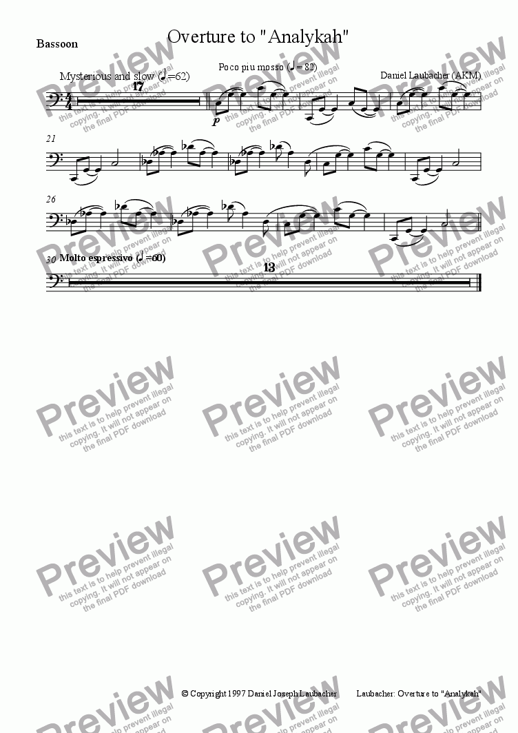 page one of the Bassoon part from OVERTURE to Analykah, a Children's Opera