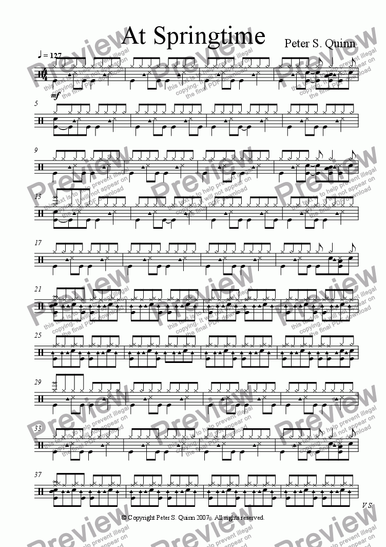 page one of the Drum Kit part from At Springtime