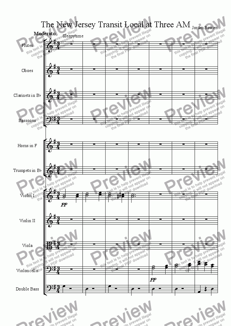 page one of the flutes part from The New Jersey Transit Local at Three AM