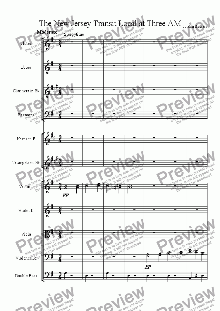 page one of the clarinet part from The New Jersey Transit Local at Three AM