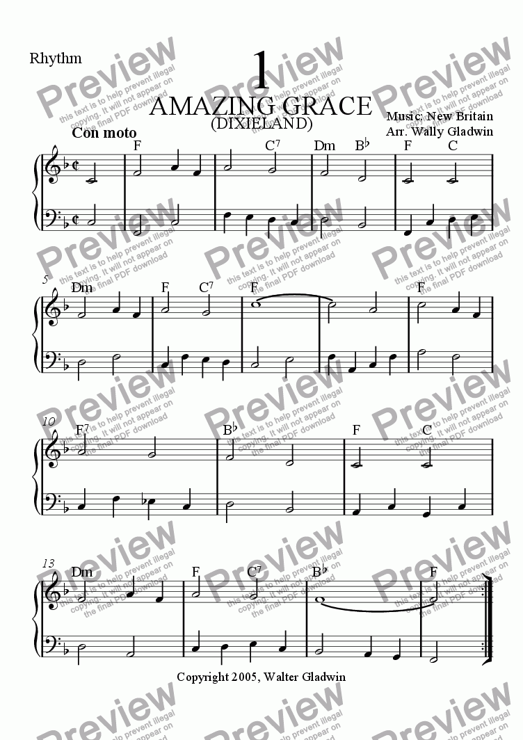 page one of the Rhythm part from Dixiechart 01. Amazing Grace