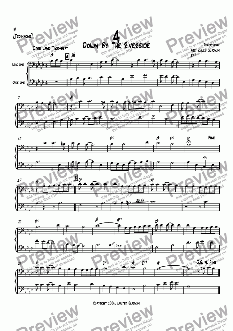 page one of the Trombone part from Dixiechart 04. Down By the Riverside