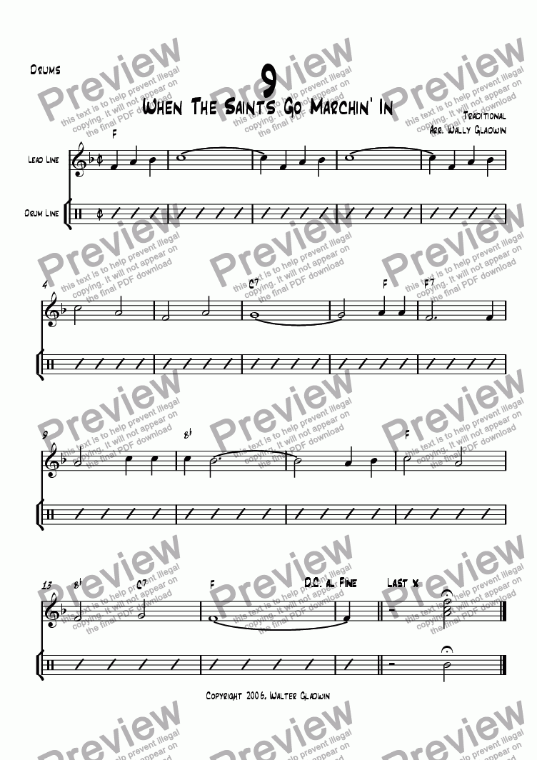 page one of the Drums part from Dixiechart 09. When The Saints Go marchin' In