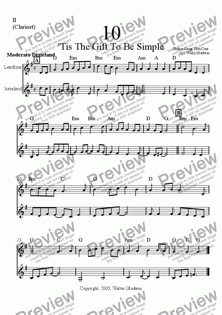 page one of the Clarinet part from Dixiechart 10. Tis A Gift To Be Simple