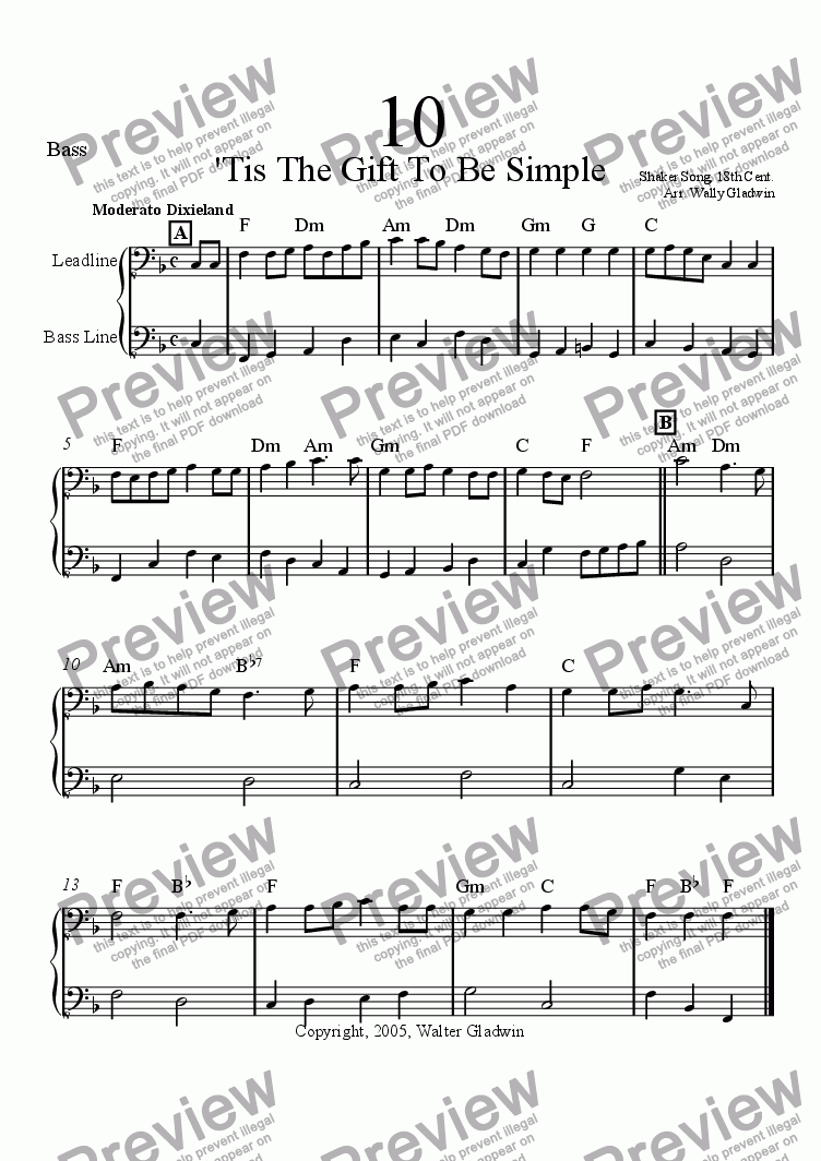 page one of the Bass part from Dixiechart 10. Tis A Gift To Be Simple
