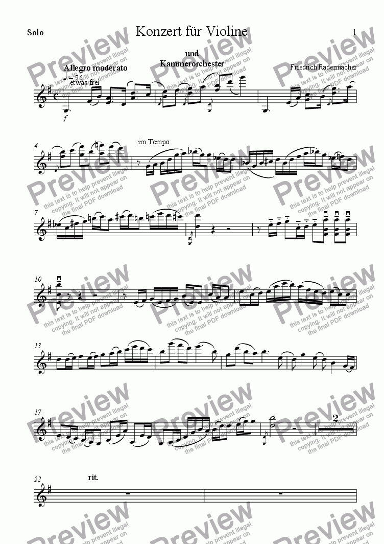 page one of the Solovioline part from Konzert f�r Violine und Kammerorchester