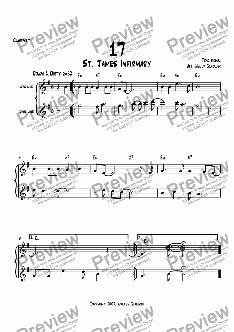 page one of the Clarinet part from Dixiechart 17. St. James Infirmary