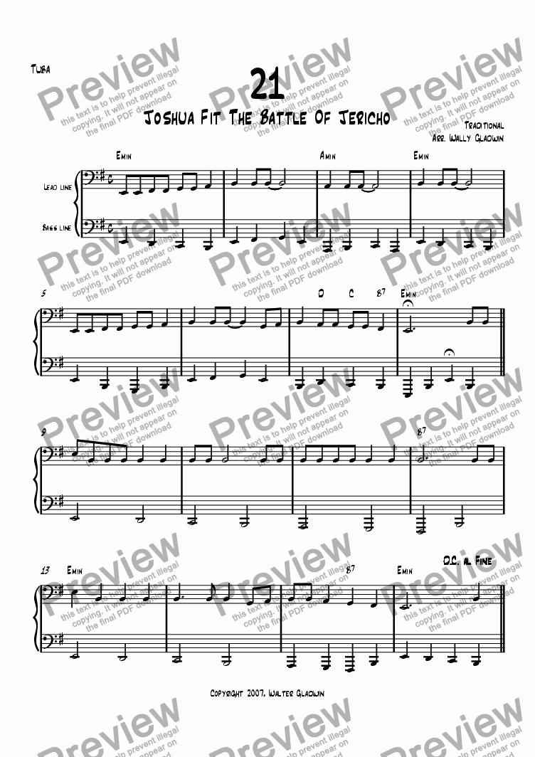 page one of the Tuba part from Dixiechart 21. Joshua Fit The Battle Of Jericho